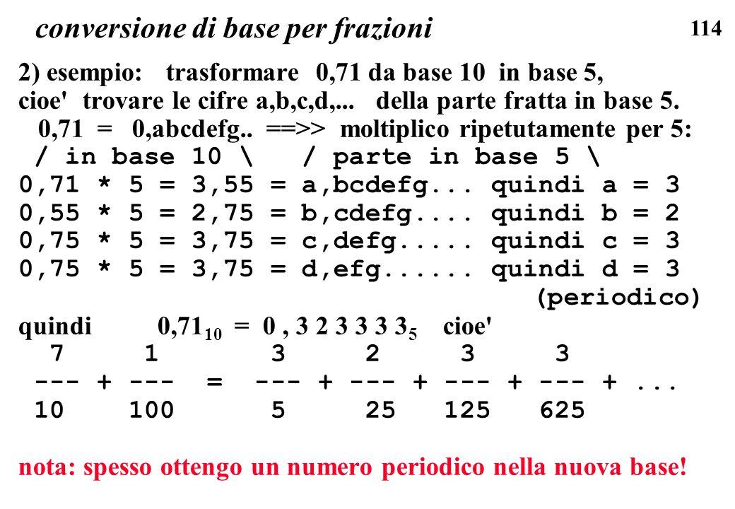conversione di base per frazioni
