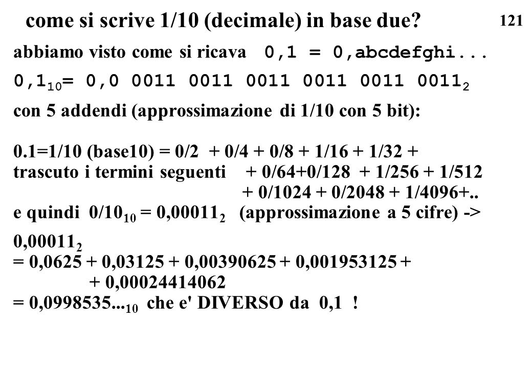 come si scrive 1/10 (decimale) in base due
