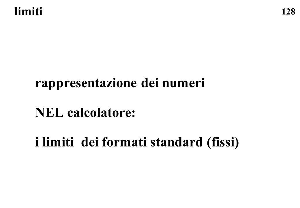 rappresentazione dei numeri NEL calcolatore: