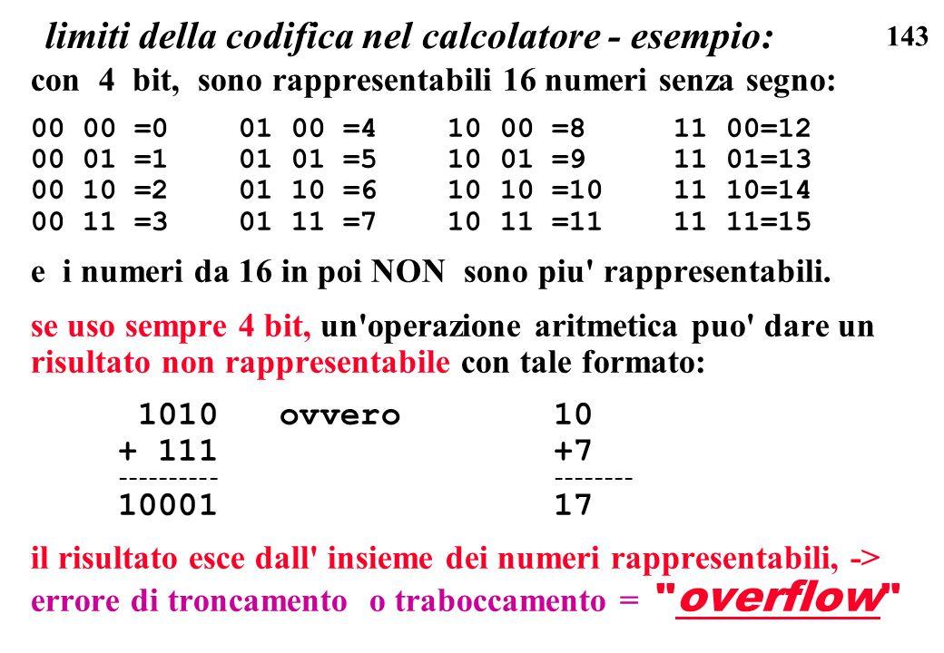 limiti della codifica nel calcolatore - esempio:
