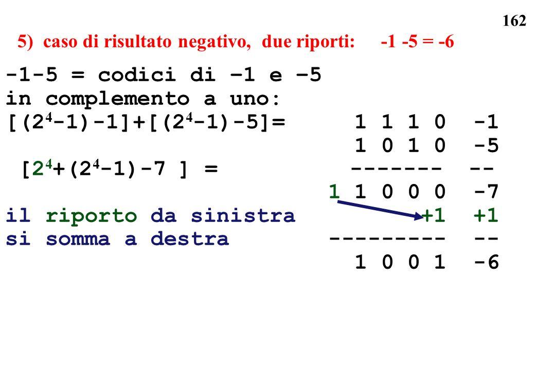 5) caso di risultato negativo, due riporti: -1 -5 = -6