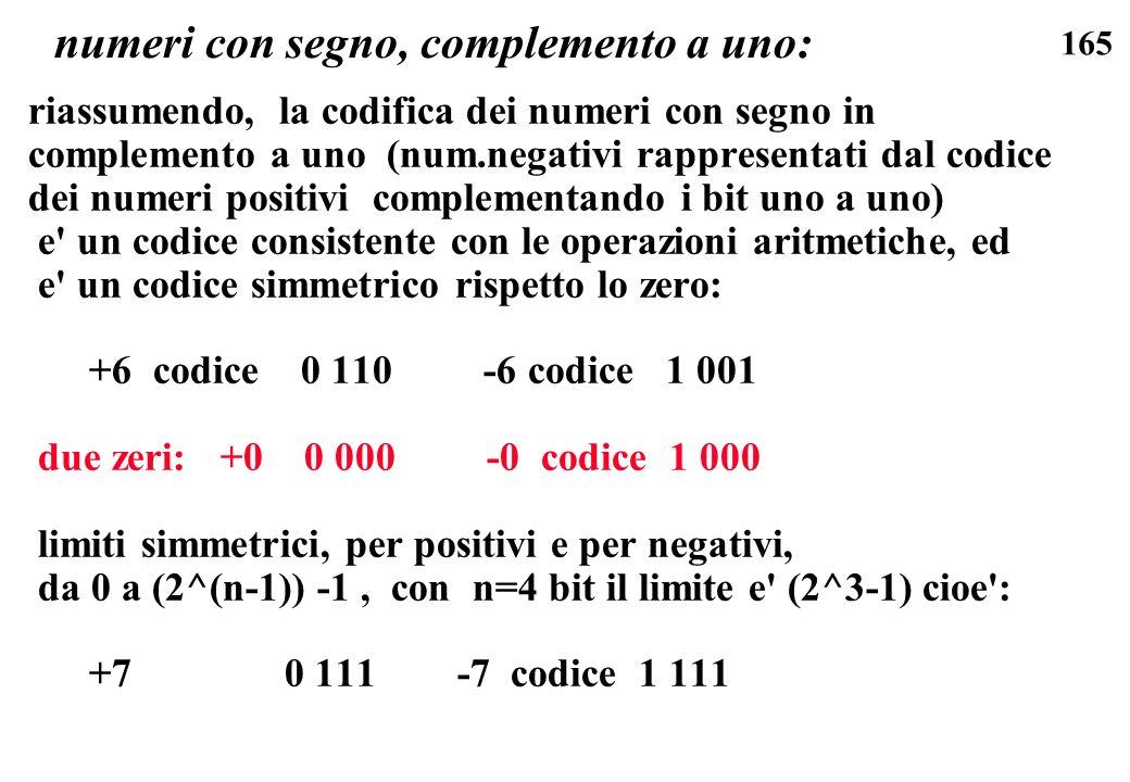 numeri con segno, complemento a uno: