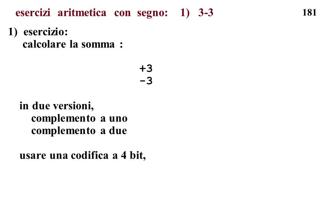 esercizi aritmetica con segno: 1) 3-3
