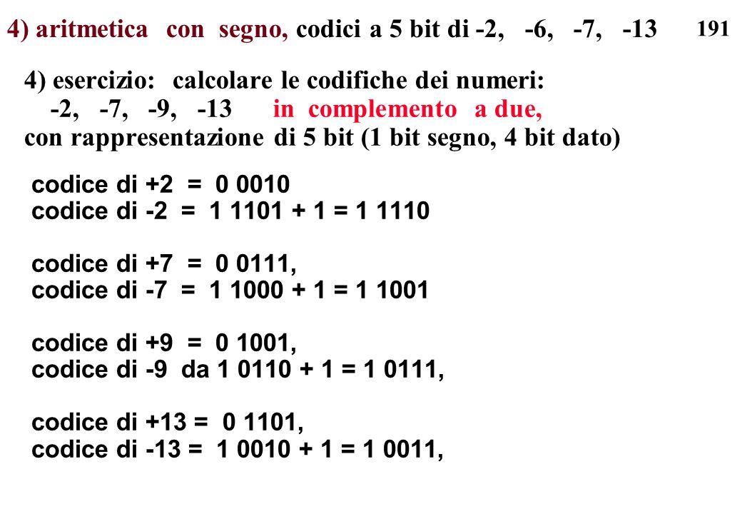 4) aritmetica con segno, codici a 5 bit di -2, -6, -7, -13