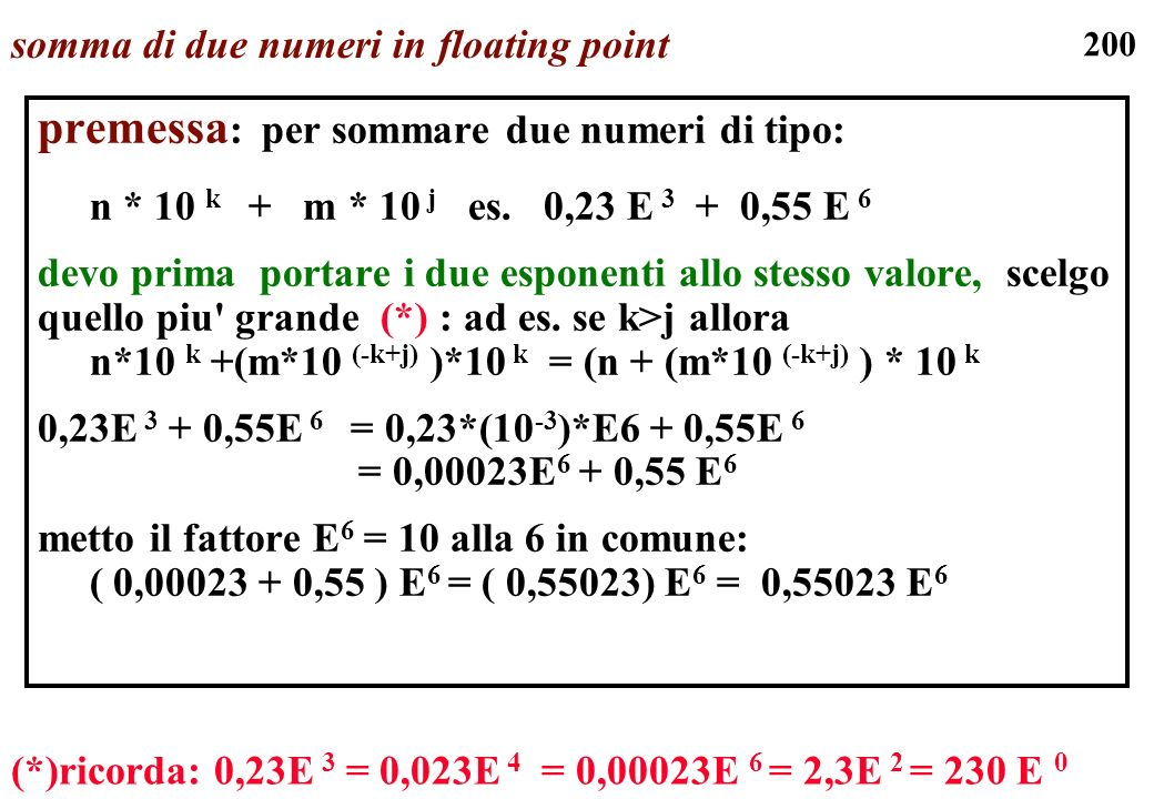 somma di due numeri in floating point