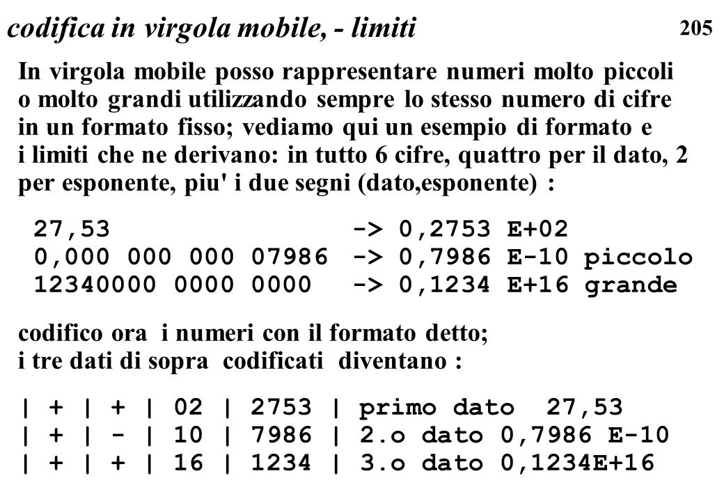 codifica in virgola mobile, - limiti
