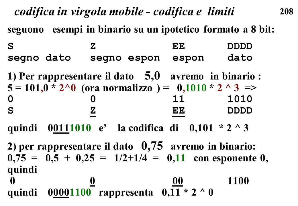 codifica in virgola mobile - codifica e limiti
