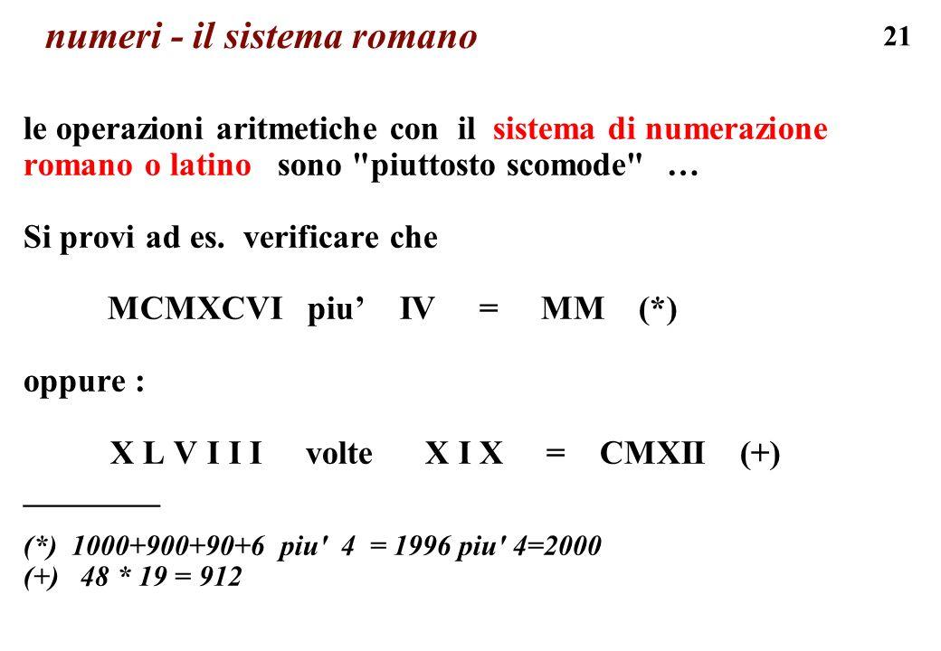numeri - il sistema romano