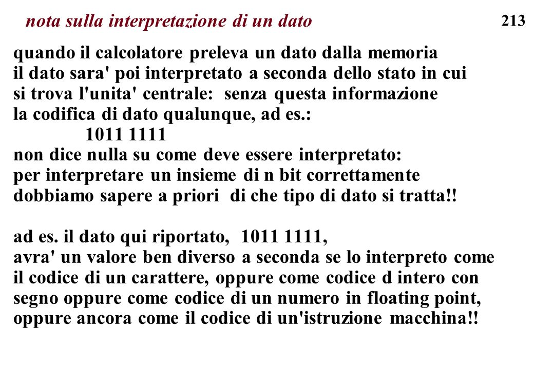 nota sulla interpretazione di un dato
