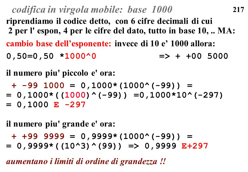 codifica in virgola mobile: base 1000