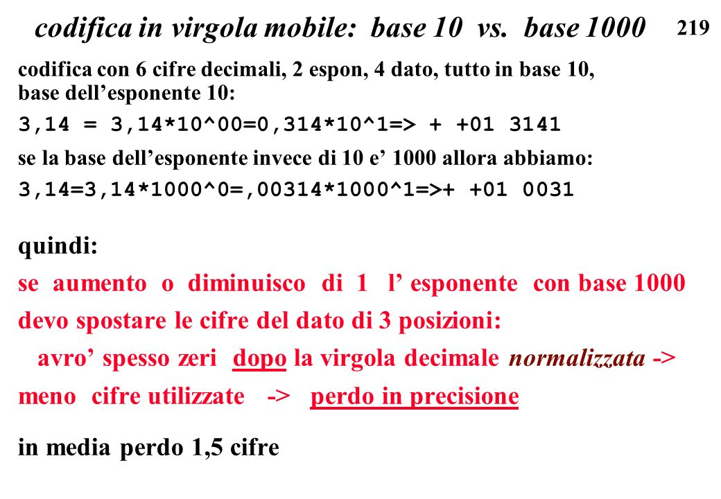codifica in virgola mobile: base 10 vs. base 1000