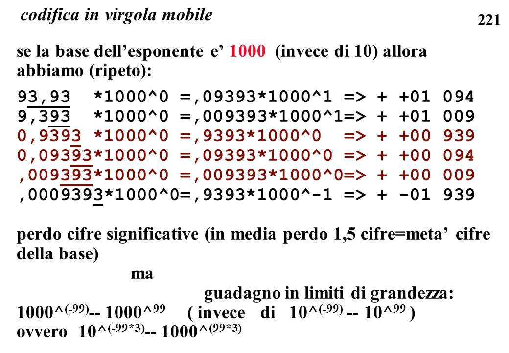 codifica in virgola mobile