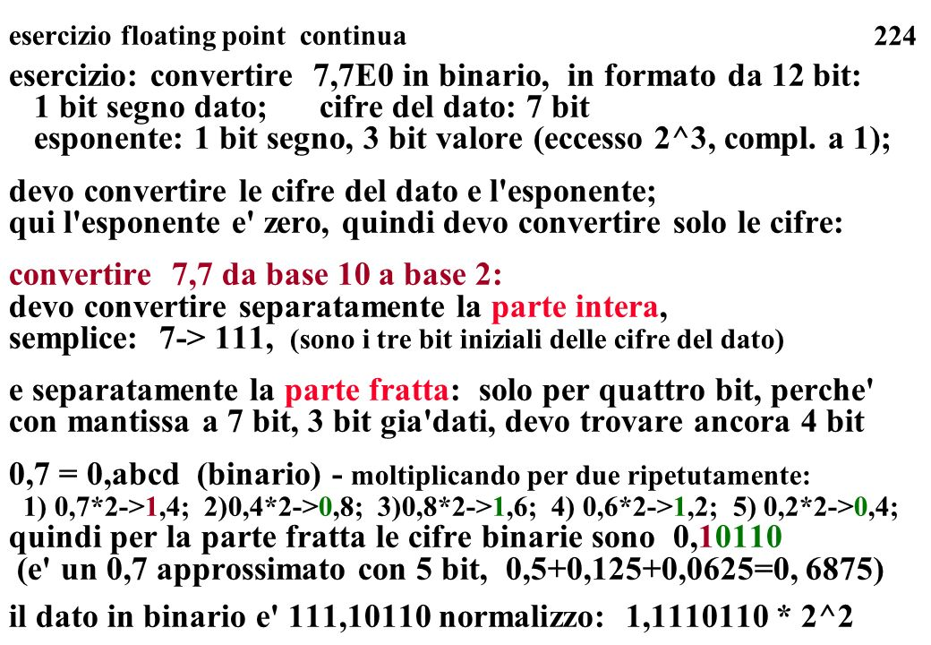 esercizio floating point continua