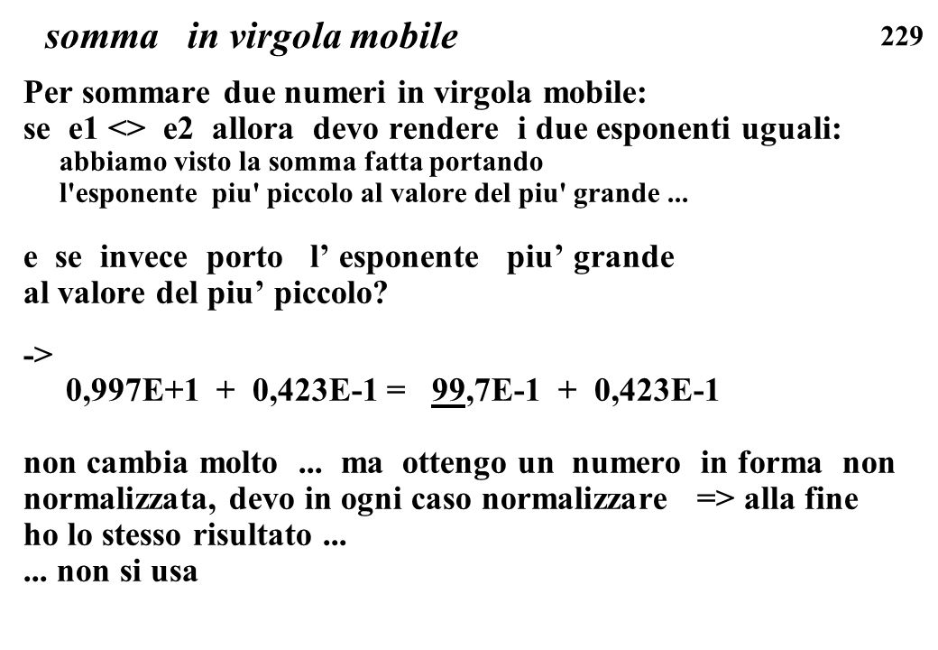 somma in virgola mobile
