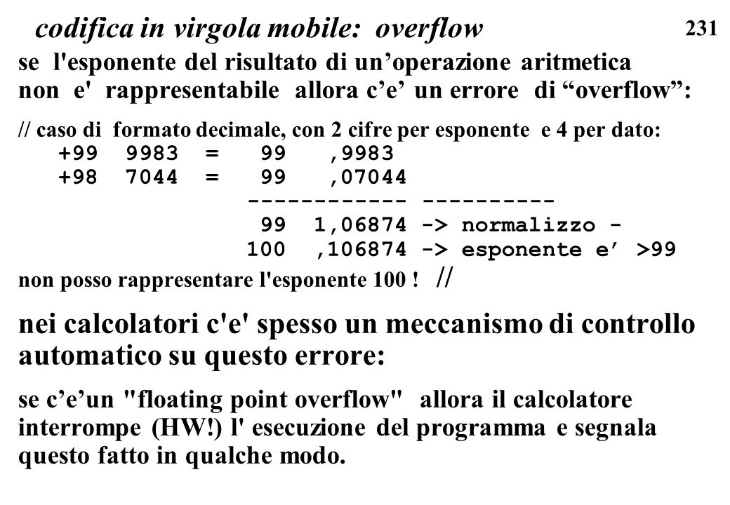 codifica in virgola mobile: overflow