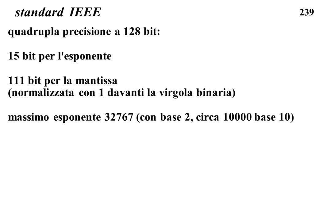 standard IEEE quadrupla precisione a 128 bit: 15 bit per l esponente