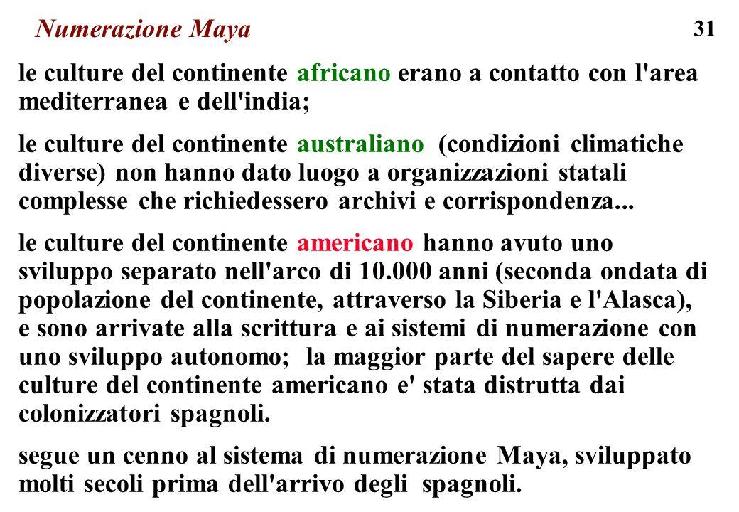 Numerazione Maya le culture del continente africano erano a contatto con l area mediterranea e dell india;