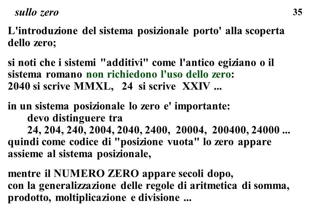 sullo zero L introduzione del sistema posizionale porto alla scoperta dello zero;
