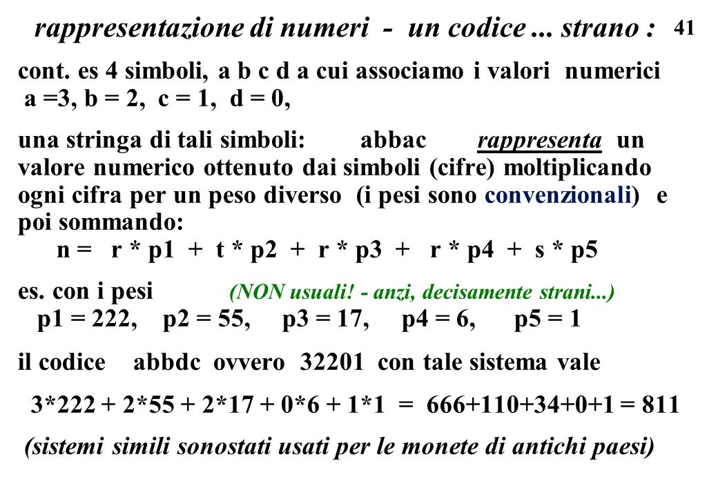 rappresentazione di numeri - un codice ... strano :