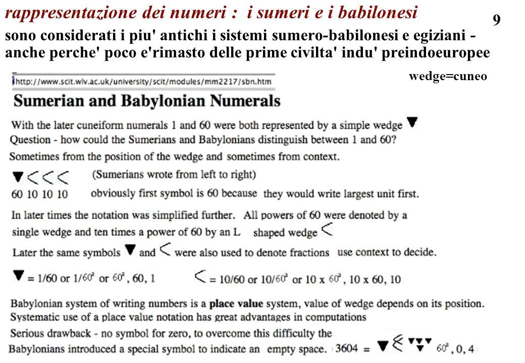 rappresentazione dei numeri : i sumeri e i babilonesi