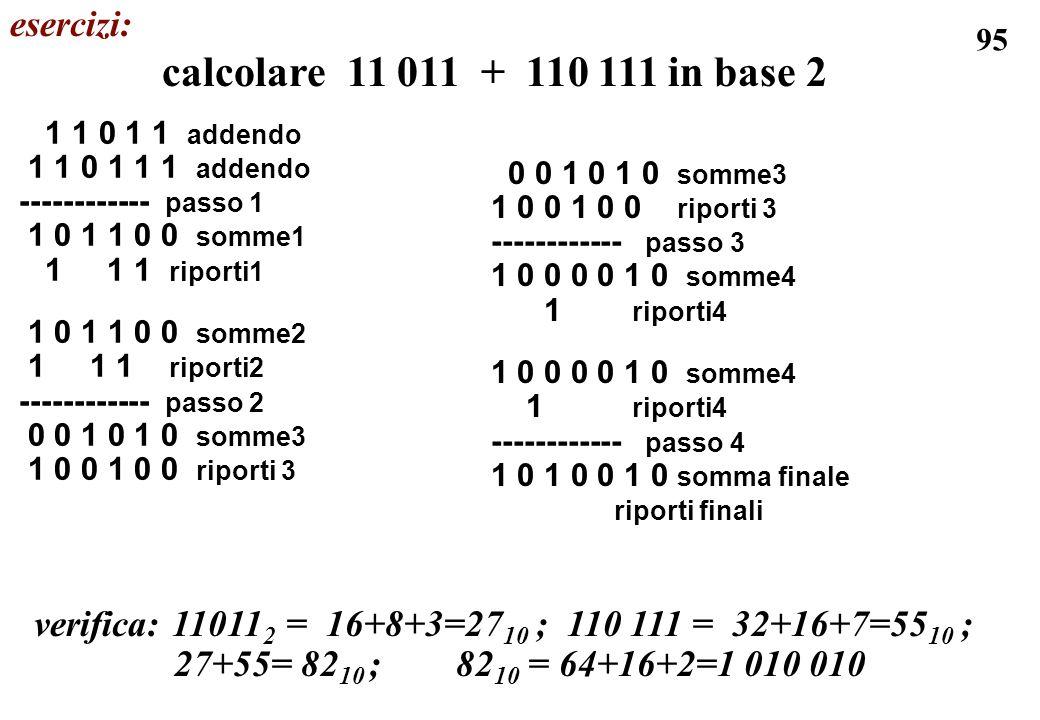 calcolare 11 011 + 110 111 in base 2 esercizi: