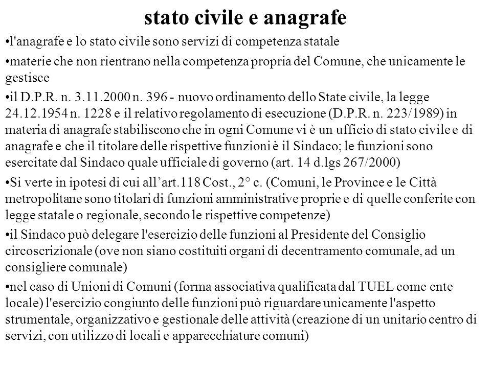 stato civile e anagrafe