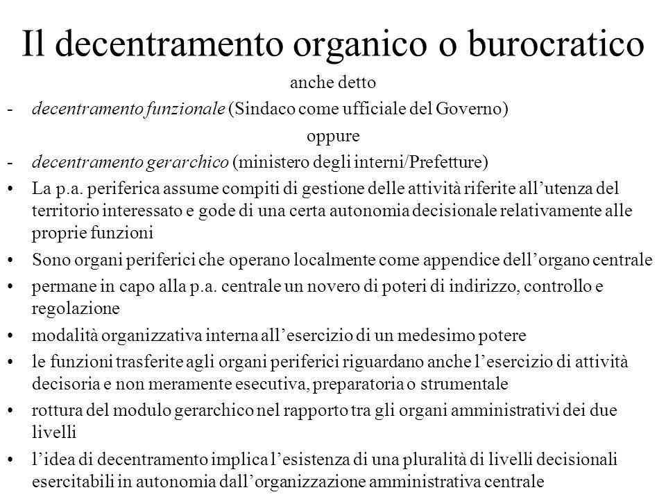 Il decentramento organico o burocratico