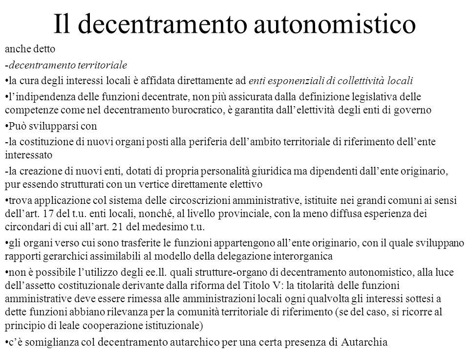 Il decentramento autonomistico