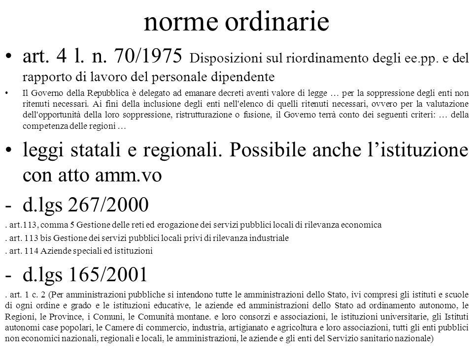 norme ordinarie art. 4 l. n. 70/1975 Disposizioni sul riordinamento degli ee.pp. e del rapporto di lavoro del personale dipendente.