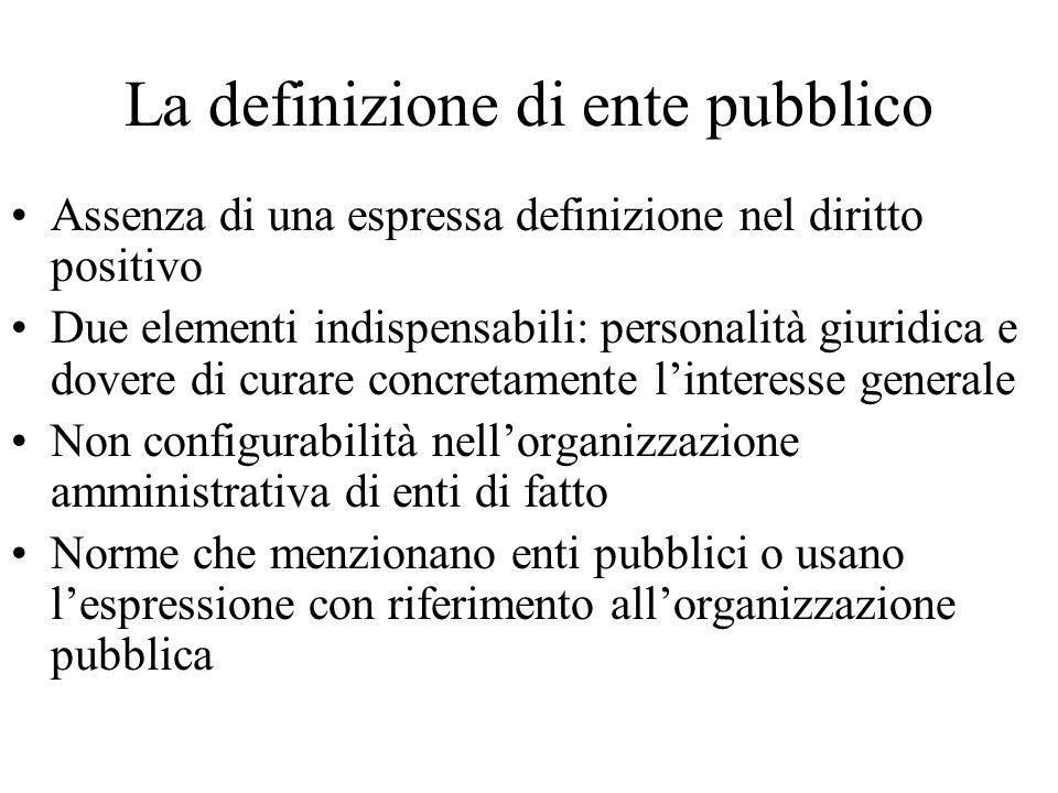 La definizione di ente pubblico