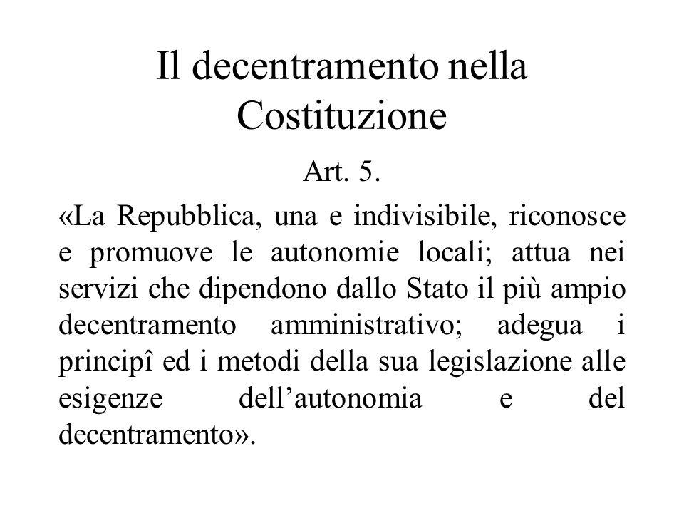 Il decentramento nella Costituzione