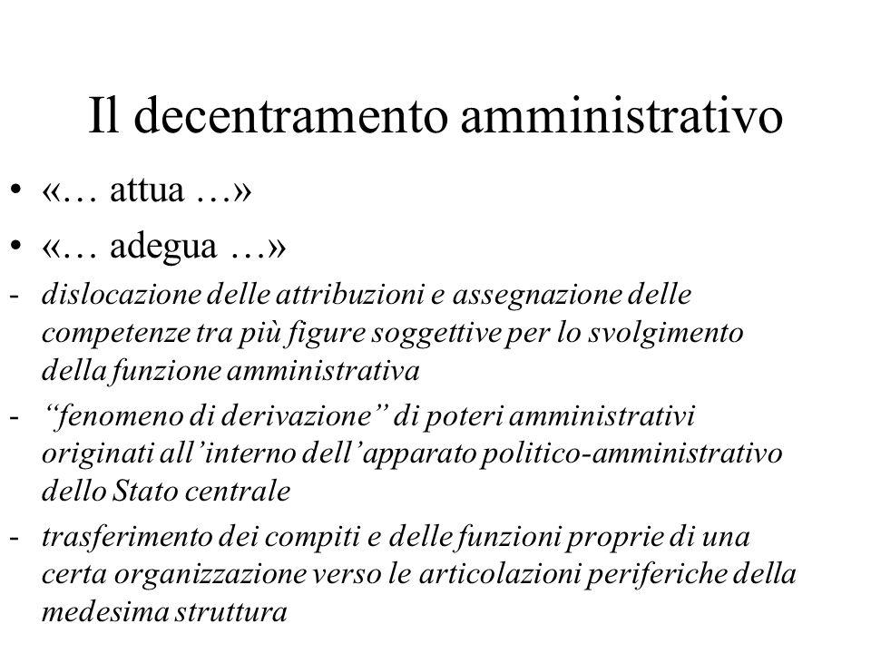 Il decentramento amministrativo