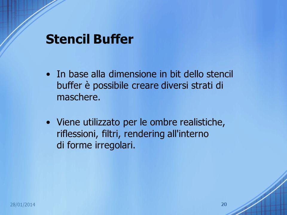 Stencil Buffer In base alla dimensione in bit dello stencil buffer è possibile creare diversi strati di maschere.