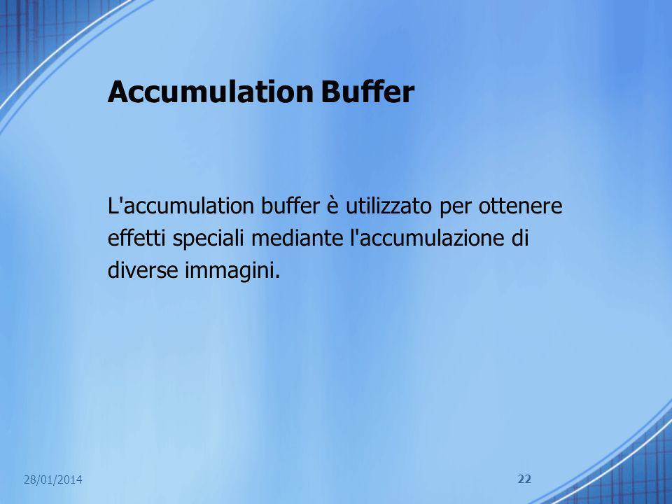 Accumulation Buffer L accumulation buffer è utilizzato per ottenere effetti speciali mediante l accumulazione di diverse immagini.