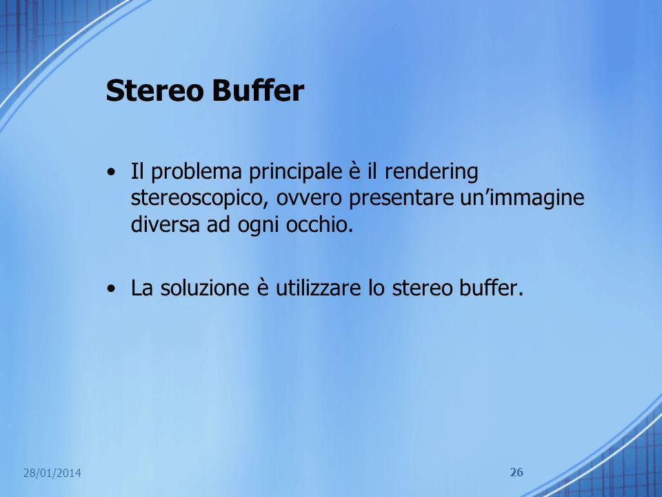 Stereo Buffer Il problema principale è il rendering stereoscopico, ovvero presentare un'immagine diversa ad ogni occhio.