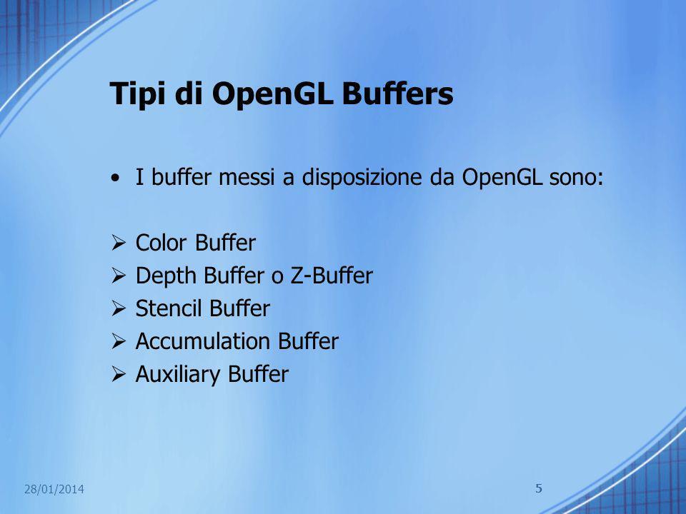 Tipi di OpenGL Buffers I buffer messi a disposizione da OpenGL sono: