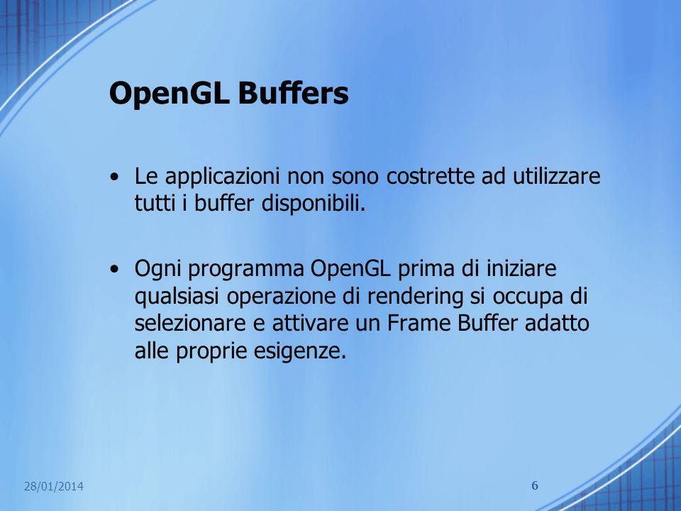 OpenGL Buffers Le applicazioni non sono costrette ad utilizzare tutti i buffer disponibili.