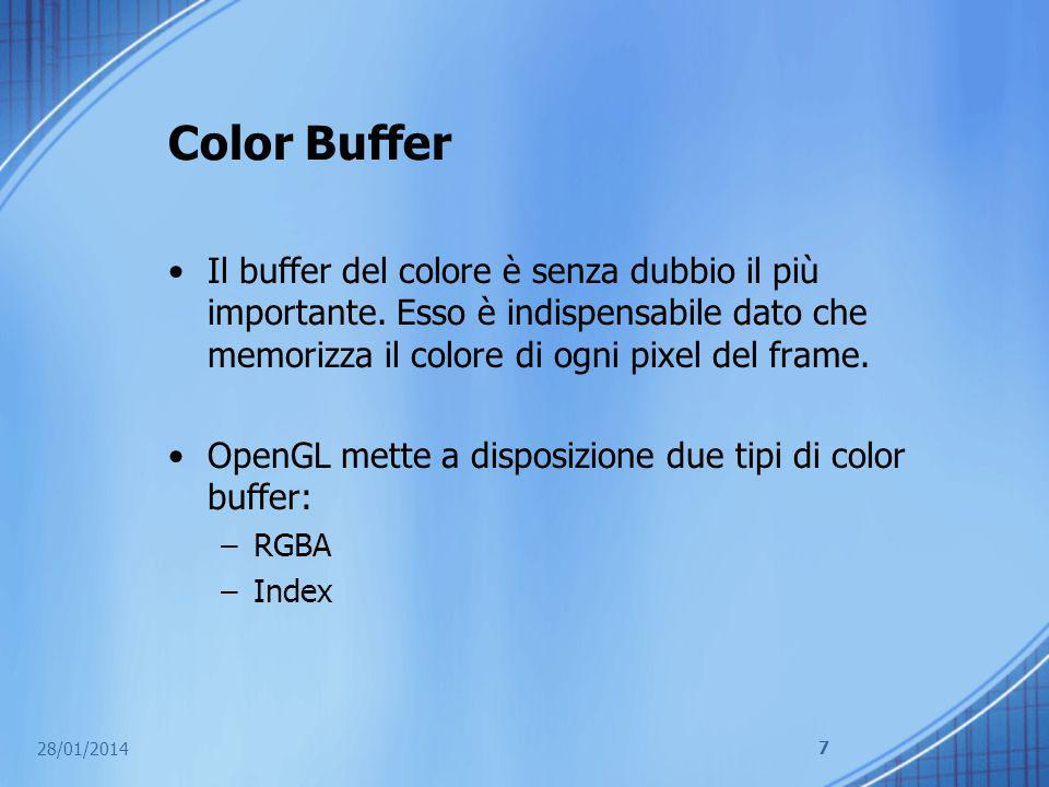 Color Buffer Il buffer del colore è senza dubbio il più importante. Esso è indispensabile dato che memorizza il colore di ogni pixel del frame.