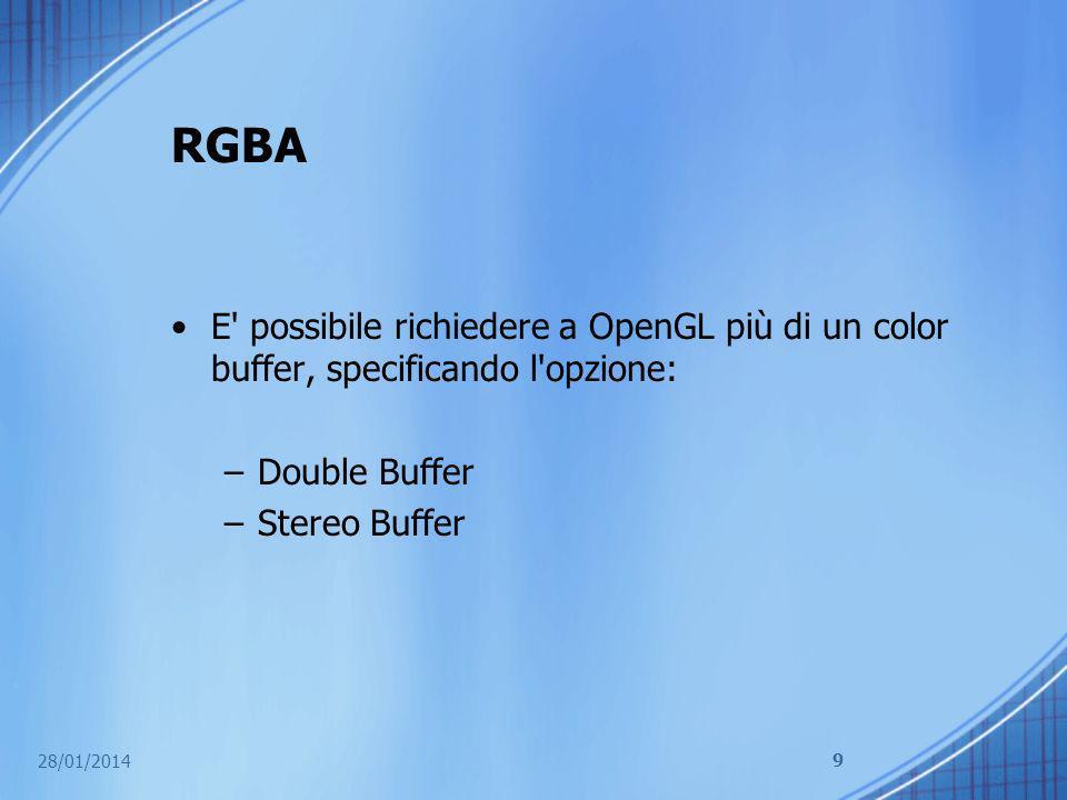 RGBA E possibile richiedere a OpenGL più di un color buffer, specificando l opzione: Double Buffer.