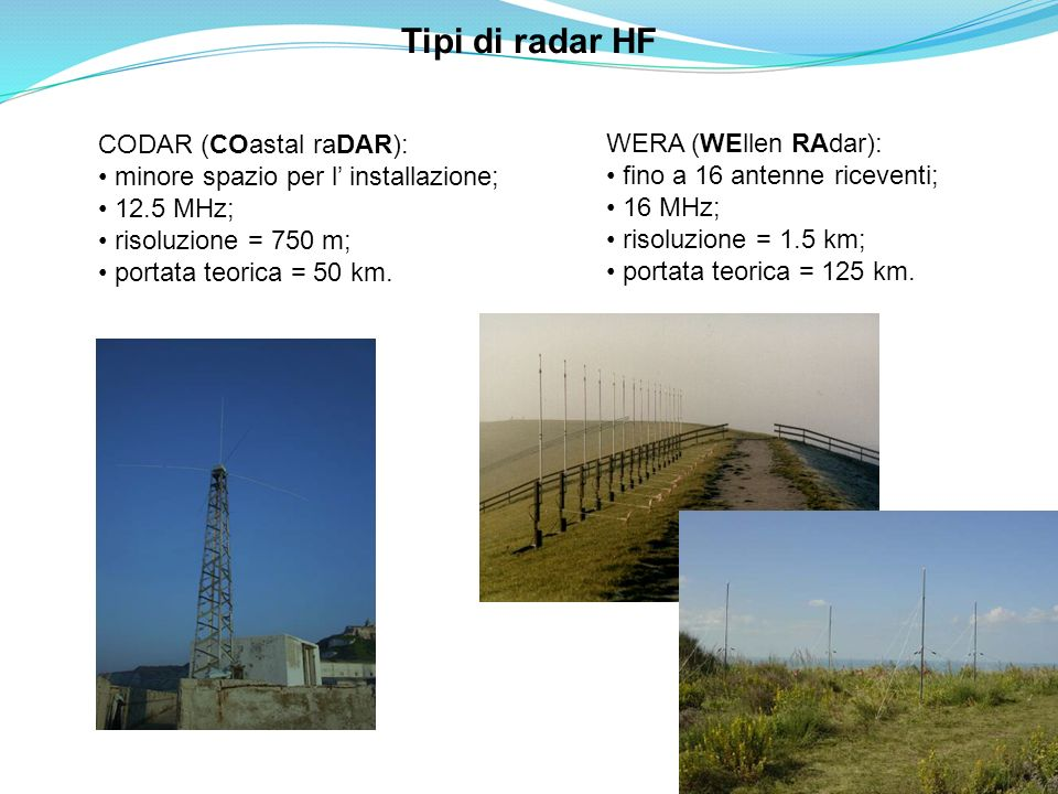 Tipi di radar HF CODAR (COastal raDAR): WERA (WEllen RAdar):