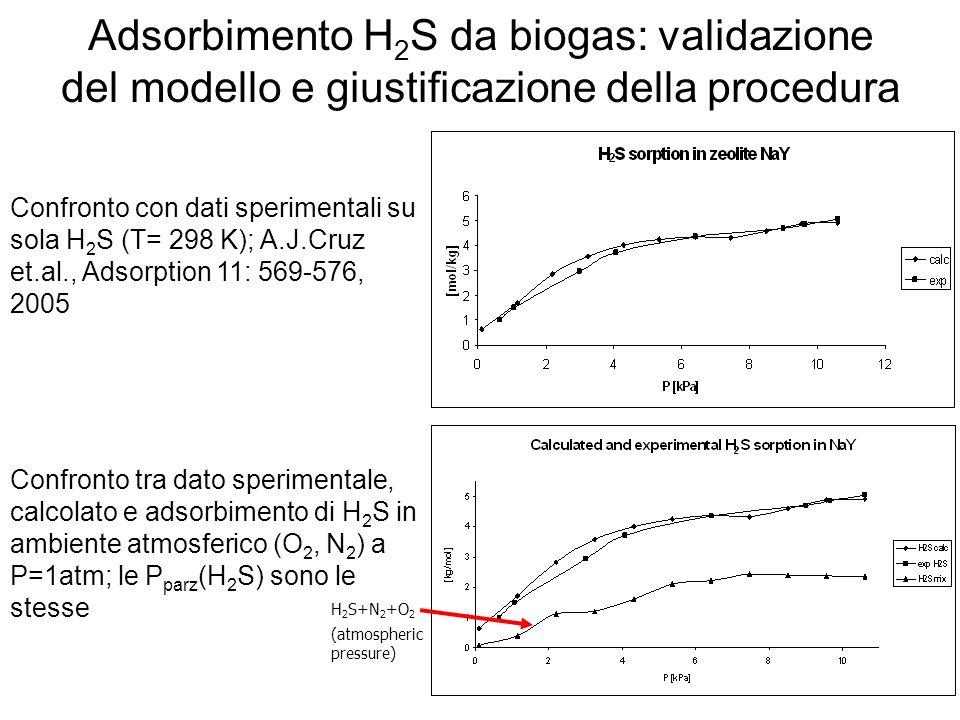 Adsorbimento H2S da biogas: validazione del modello e giustificazione della procedura