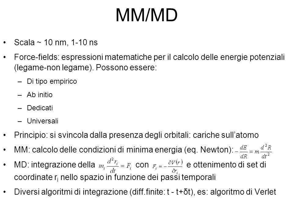 MM/MD Scala ~ 10 nm, 1-10 ns. Force-fields: espressioni matematiche per il calcolo delle energie potenziali (legame-non legame). Possono essere: