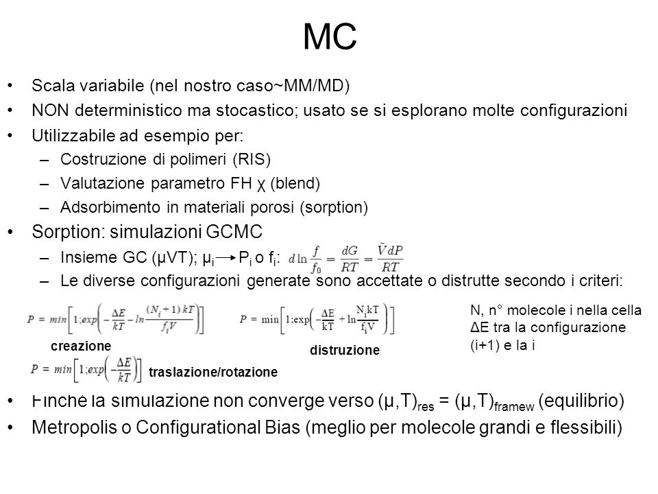 MC Sorption: simulazioni GCMC