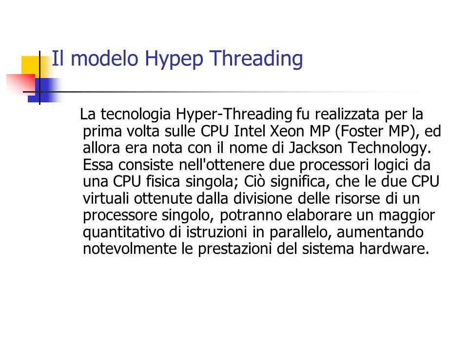 Il modelo Hypep Threading