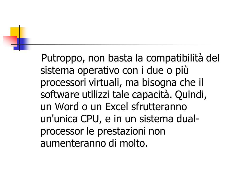 Putroppo, non basta la compatibilità del sistema operativo con i due o più processori virtuali, ma bisogna che il software utilizzi tale capacità.