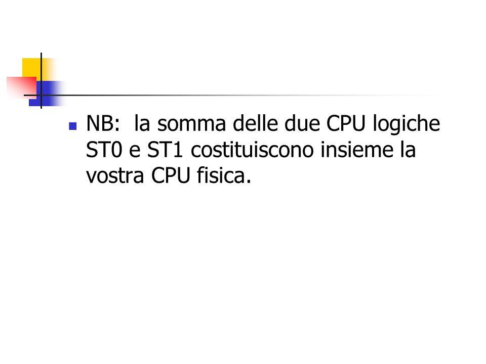 NB: la somma delle due CPU logiche ST0 e ST1 costituiscono insieme la vostra CPU fisica.