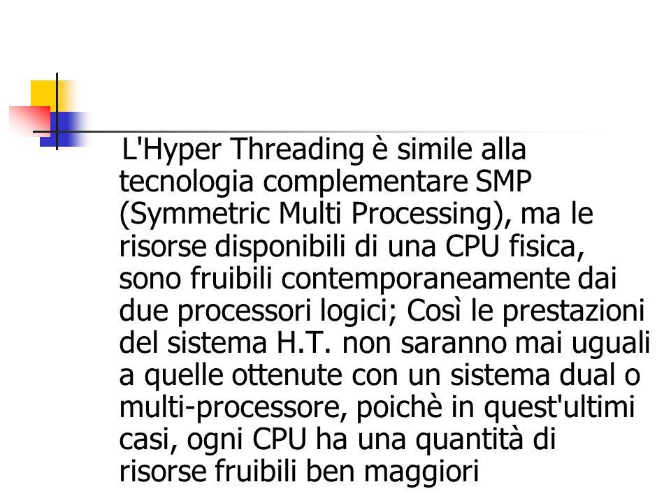 L Hyper Threading è simile alla tecnologia complementare SMP (Symmetric Multi Processing), ma le risorse disponibili di una CPU fisica, sono fruibili contemporaneamente dai due processori logici; Così le prestazioni del sistema H.T.