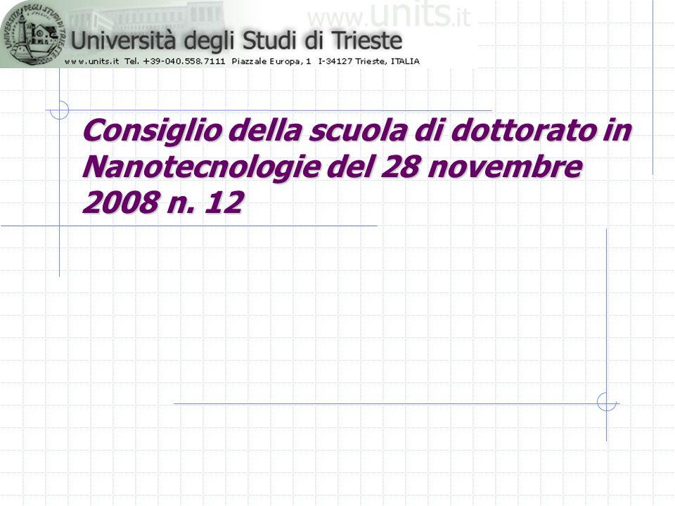 3/27/2017Consiglio della scuola di dottorato in Nanotecnologie del 28 novembre 2008 n.