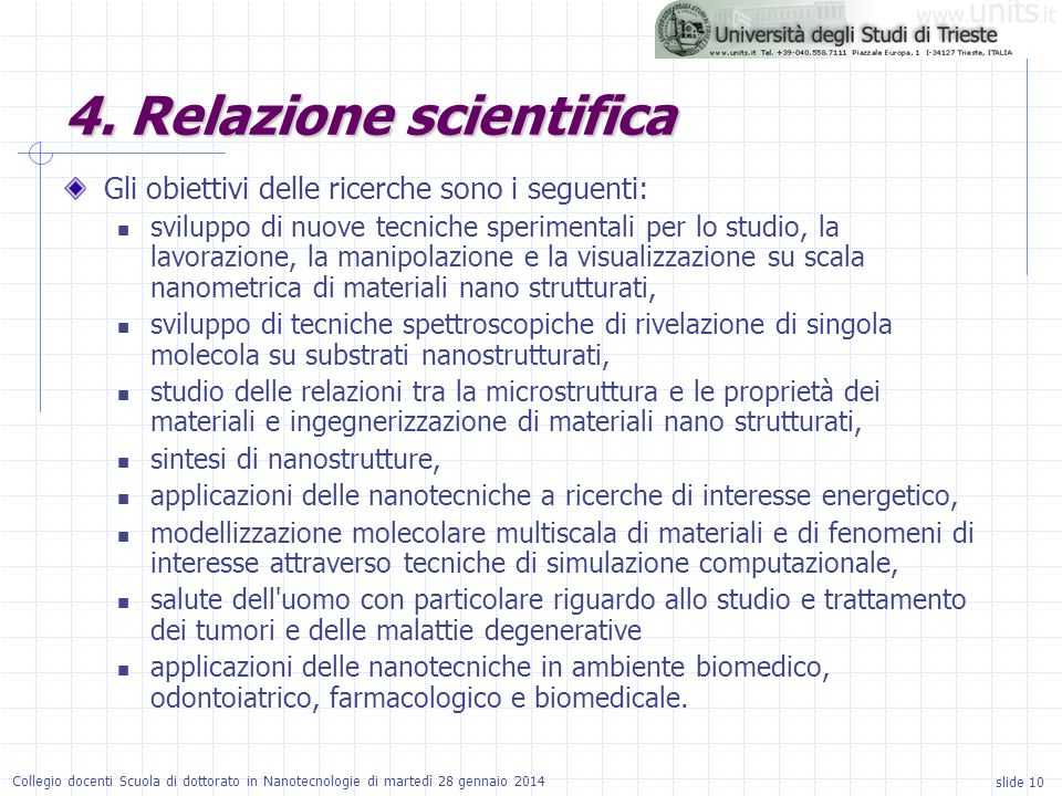4. Relazione scientifica
