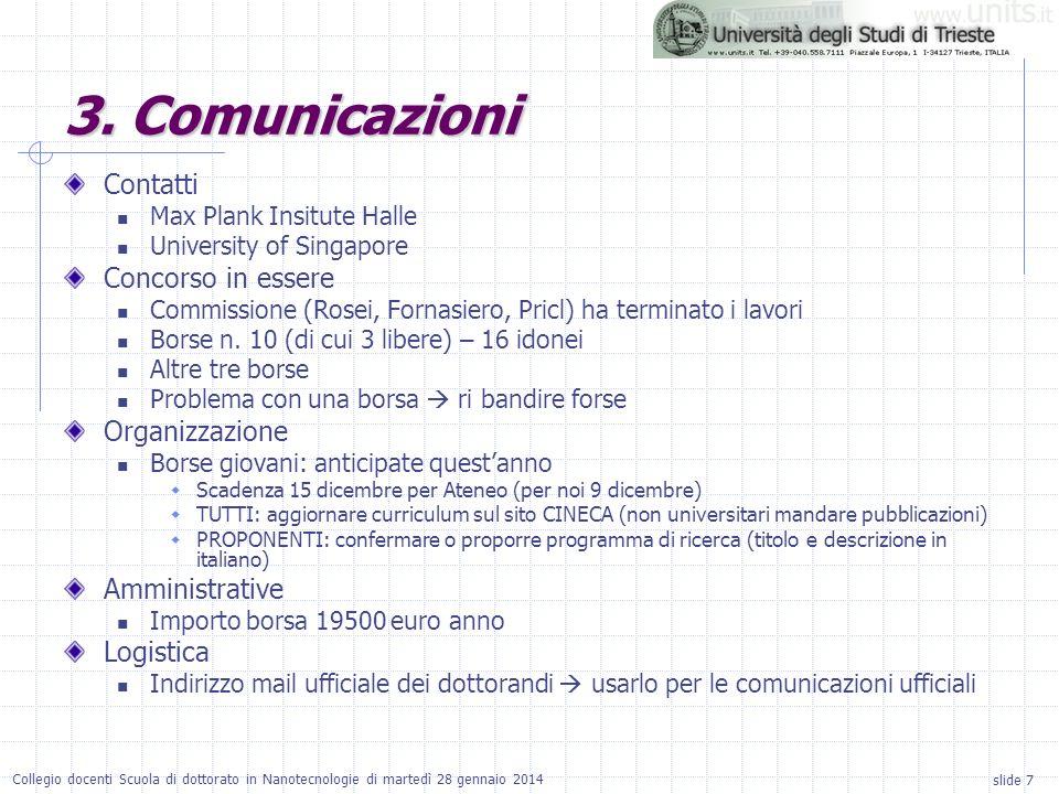 3. Comunicazioni Contatti Concorso in essere Organizzazione